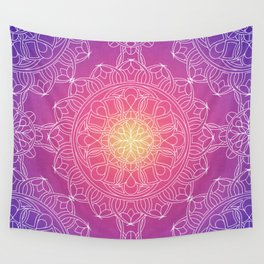 White Lace Mandala in Purple, Pink, and Yellow Wall Tapestry