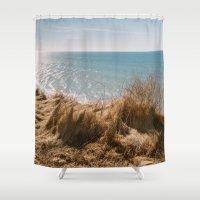 denmark Shower Curtains featuring Scarp at Marup kirke in Lonstrup, North Jutland, Denmark by Elisabeth Coelfen