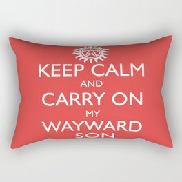SUPERNATURAL KEEP CALM AND CARRY ON MY WAYWARD SON - White Text Rectangular Pillow