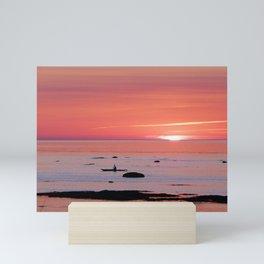 Kayaker and Bird at Last Light Mini Art Print