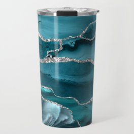 Glamour Turquoise Blue Bohemian Watercolor Marble With Silver Glitter Veins Travel Mug