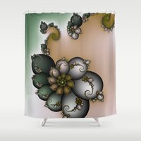 novelty Shower Curtains featuring Trinket Flower Fractal by Moody Muse