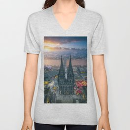 Sunset at the Rhine Unisex V-Neck