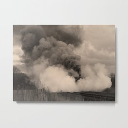 Rood Ashton Hall in clouds of steam - sepia Metal Print