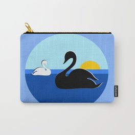 Black and White Swans on Blue Lake Carry-All Pouch