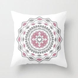 Heart Mandala – Pink Throw Pillow