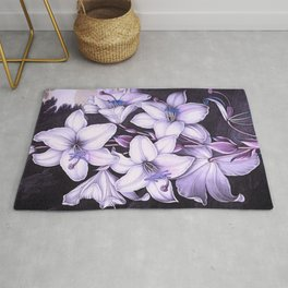 The White Lily w/ Variegated-leaves Lavender Temple of Flora Rug