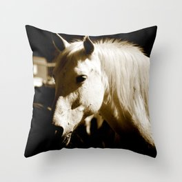 White Horse-Sepia Throw Pillow