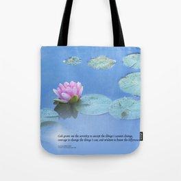 Serenity Prayer Pink Water Lily Tote Bag