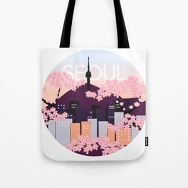 Seoul Tower with Cherry Blossoms Woodblock Style Souvenir Print Tote Bag