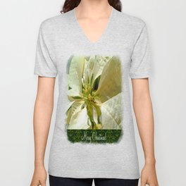 Pale Yellow Poinsettia 1 Merry Christmas S6F1 Unisex V-Neck