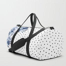 Boho Blue Flowers and Polka Dots Duffle Bag