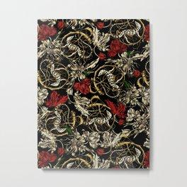 Floral and  Lizard Pattern Metal Print