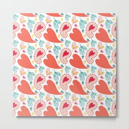 Paisley and Hearts Summer Pattern Metal Print