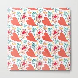 Paisley and Hearts Summer Pattern Metal Print