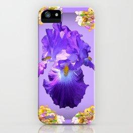 Purple Iris & Iris Border Pattern Art iPhone Case