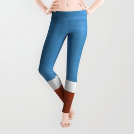 Antique Pastel Blue Brown Mid Century Modern Abstract Minimalist Rothko Color Field Squares Leggings