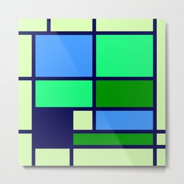 Mondrianista green blue Metal Print