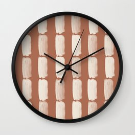 Sherwin Williams Creamy Off White SW7012 Grid Brushstrokes on Cavern Clay SW 7701 Wall Clock