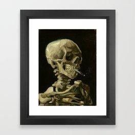 Skull of a Skeleton with Burning Cigarette - Van Gogh Framed Art Print