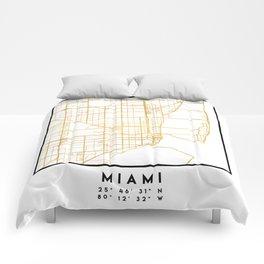 MIAMI FLORIDA CITY STREET MAP ART Comforters