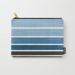 Green Blue Minimalist Watercolor Mid Century Staggered Stripes Rothko Color Block Geometric Art Carry-All Pouch