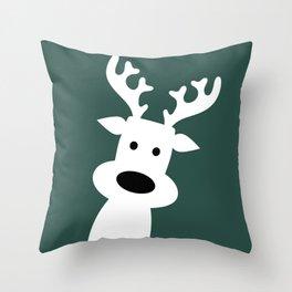 Reindeer on green background Throw Pillow