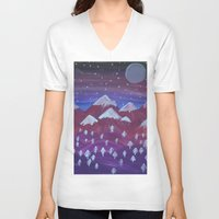 middle earth V-neck T-shirts featuring Lost in Middle earth by moonlight by ForestSeaSky2000