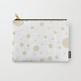 Mixed Polka Dots - Pearl Brown on White Carry-All Pouch