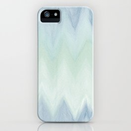 Modern geometrical pastel blue mint green watercolor ikat iPhone Case
