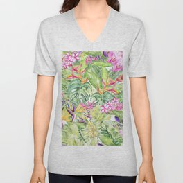 Tropical Garden 1A #society6 Unisex V-Neck