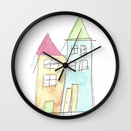 Watercolor Houses 1 Wall Clock