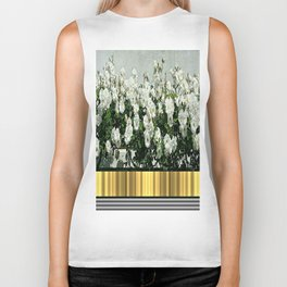 Wild white roses  with golden ribbon Biker Tank