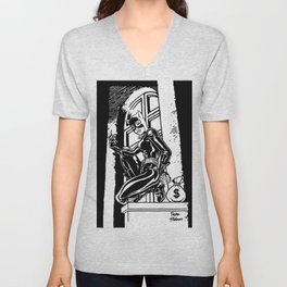 A Whip-Carrying Burglar / A High Stake Theft by Peter Melonas Unisex V-Neck