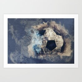 Abstract Grunge Soccer Art Print