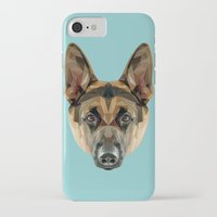 german shepherd iPhone & iPod Cases featuring German Shepherd // Blue by peachandguava
