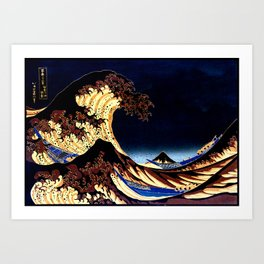 The GREAT Wave Midnight Blue Brown Art Print