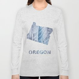 Oregon map outline Light steel blue clouded wash drawing Long Sleeve T-shirt