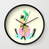 mermaid Wall Clocks featuring mermaid by Alba Blázquez