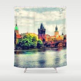 Prague panorama watercolor Shower Curtain