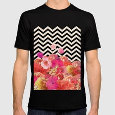 Chevron Flora II Mens Fitted Tee SMALL Black