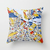mondrian Throw Pillows featuring Amsterdam Mondrian by Mondrian Maps