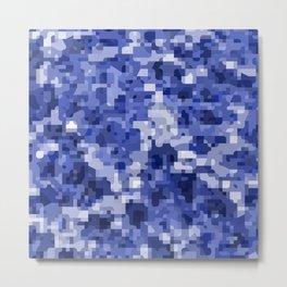 Modern terrazzo style blue camouflage pattern Metal Print
