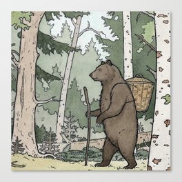 Bear walking nature Canvas Print