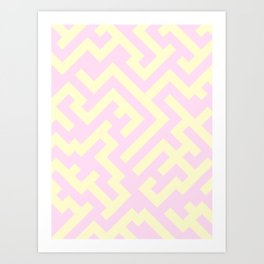 Cream Yellow and Pink Lace Diagonal Labyrinth Art Print