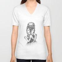 dahlia V-neck T-shirts featuring Dahlia by April Alayne