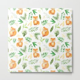 Hand painted cute brown fox watercolor green floral leaves Metal Print