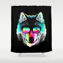Wolf Rainbow Sunglasses Shower Curtain