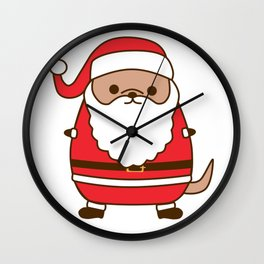 Cute Christmas Santa Pupsheen Wall Clock