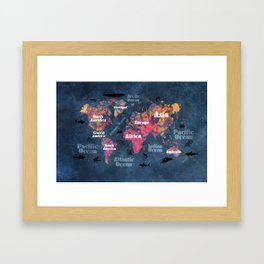 world map 115 #worldmap #map Framed Art Print